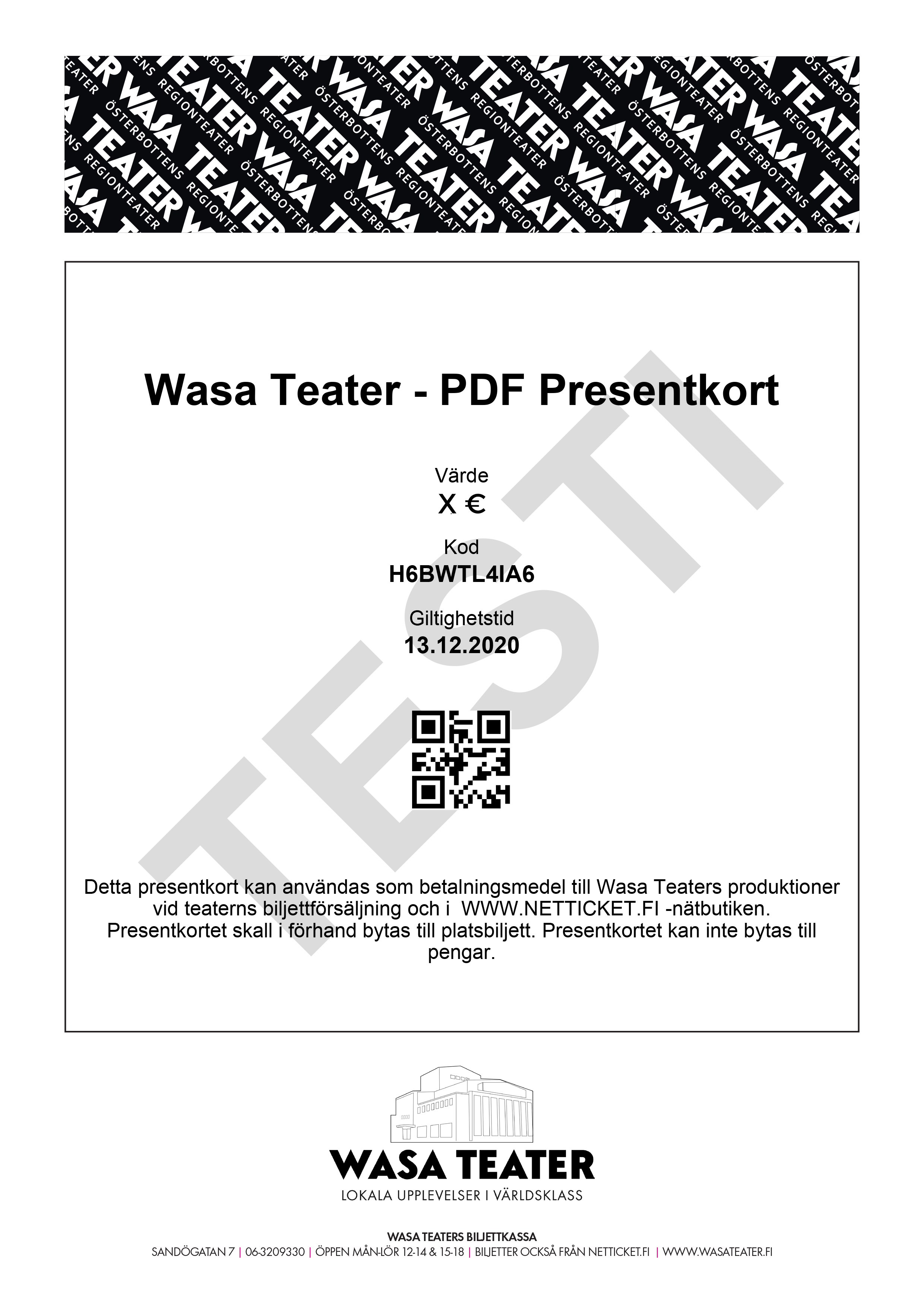 Wasa Teater - PDF Gift Card - Open sum
